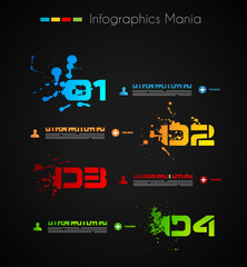 Infographic grunge design with paper tags.
