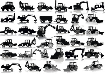 Set of 34 silhouettes of a tractors of road service