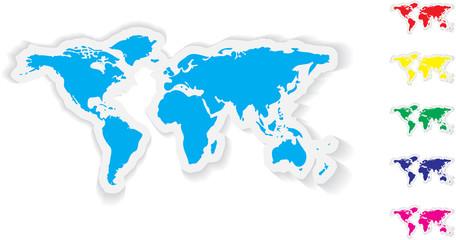 Multicolored map stickers