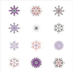 Set of Snowflake Illustrations Clipart