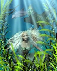 Fotobehang Zeemeermin Green and Blue Mermaid Peering through Seaweed