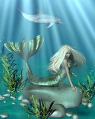 Fotobehang Zeemeermin Green and Blue Mermaid Underwater