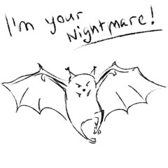 Funny bat with text vector illustration