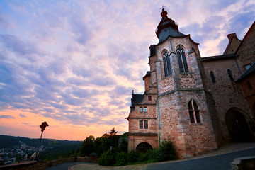 Fototapete - castle in Marburg at sunset