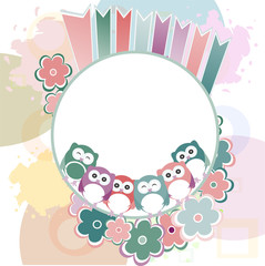 Seamless retro flowers and owl kids background pattern