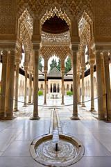 Lions courtyard in Alhambra, Patio de los Leones, Granada