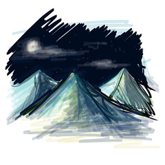 Night landscape sketch vector illustration