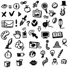 Hand drawing sketch icon set of different objects