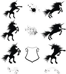heraldic unicorn coat of arms set1