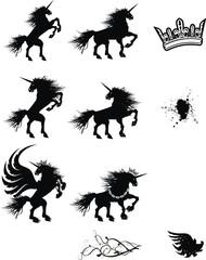 heraldic unicorn coat of arms set