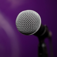 Microphone closeup on blurred background