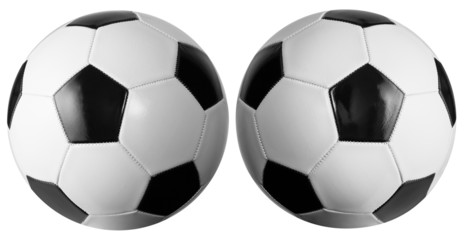 Set of two soccerballs isolated with clipping path included. Lig