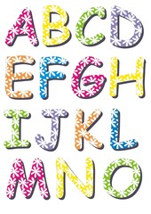 Letters with white flowers A - O