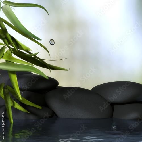 Bambus Mit Steinen Und Wasser Stockfotos Und Lizenzfreie Bilder Auf