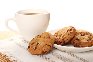 Chocolate cookies and a cup of coffee
