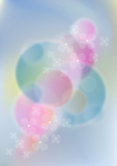 Flowers on light pink and bluemesh background