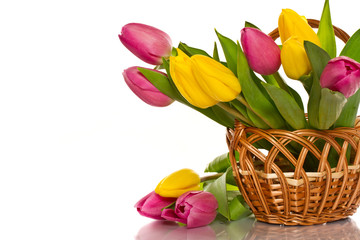 wicker basket with tulips