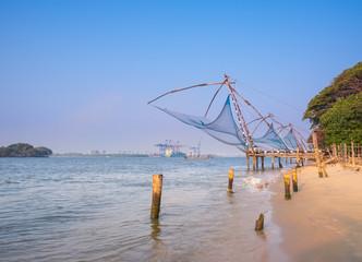 Kochi chinese fishnets in twilight in Kochi, Kerala. Fort Kochin