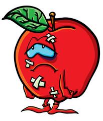 Funny battered cartoon apple
