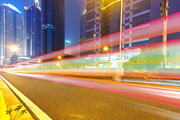 light trails on the street in shanghai ,China.