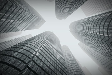 Acrylic Prints On the ceiling Reflective skyscrapers, business office buildings in fog.