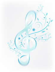 Blue treble clef with flower Vector. Music floral background.