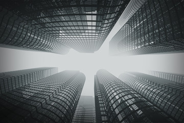Business towers in fog with fisheye lens effect.