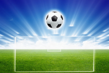 Soccer ball, field, light
