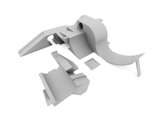 Skate park rendered and isolated