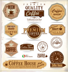 Fotobehang Vintage Poster Set Of Vintage Retro Coffee Labels