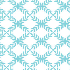 Vector blue argyle leaves seamless pattern background with