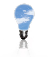 An electric light bulb against blue sky and puffy cloud