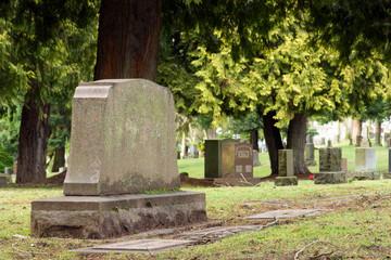 Gravestone in cemetery burial location