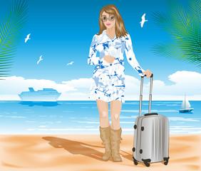 vector illustration of Tourist on the beach