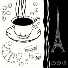 In de dag Doodle Background of eiffel tower and traditional breakfast.