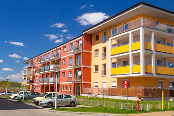 Street with new apartments in Poland