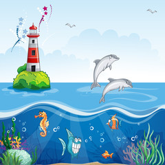 Children's illustration of the lighthouse and the sea dolphins.