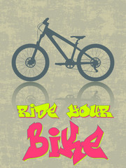 Grunge vector with a bike silhouette and graffiti text