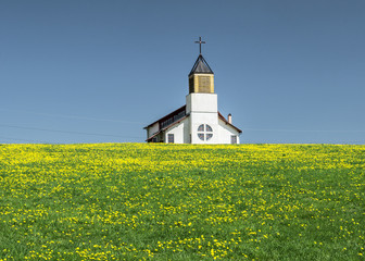 Rural church in a field