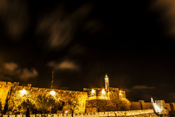 the old city wall by night, jerusalem, israel