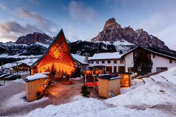 Fototapete - Ski Resort of Corvara at Night, Alta Badia, Dolomites Alps, Ital
