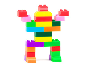 Toy robot made from colorful building blocks