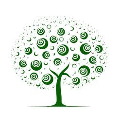 Retro green tree