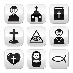 Religion, catholic church vector buttons set