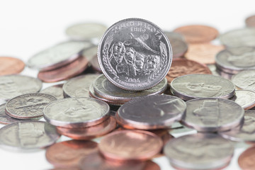 South Dakota State Quarter reverse coin extreme close up