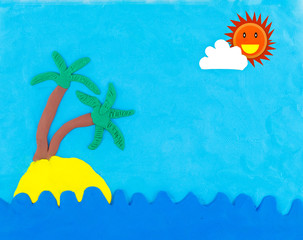 Sea and island made from clay with sun and cloud