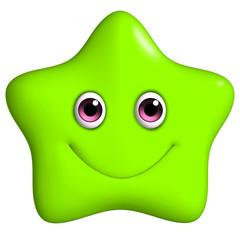 3d cartoon cute green star