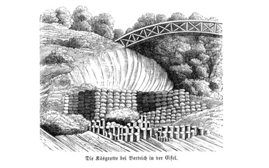 Käsegrotte/ Elfengrotte bei Bad Bertrich (Alte Lithographie)