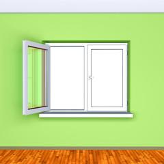open window in a empty green room-rendering