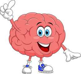 Cute brain cartoon character pointing